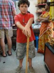 His big purchase- a cool carved cane