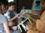 Making the palm leaf shaker