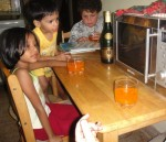 The kids with wine